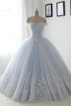 New Puffy Skirt Lace Appliques Wedding Dress Light Blue Princesa A Line Sleeveless Bridal Gown