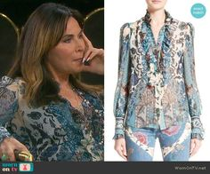 Kate's blue printed blouse on Days of our Lives.  Outfit Details: https://wornontv.net/78334/ #DaysofourLives