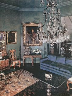 "According to Jeffrey Simpson's Rose Cumming: Design Inspiration, Rose Cumming's library had ""jade-green walls that were washed with Prussian blue"".  Here, the achieved shade of blue is murky and even rather mysterious-looking."