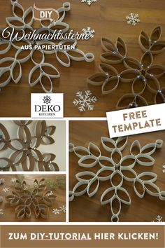 DIY: XL-Eiskristalle zum Aufhängen DIY Christmas decoration: giant ice crystals from kitchen roll to make yourself! Holiday Day, Christmas Fun, Christmas Decorations, Healthy Chocolate Shakes, Easy Crafts, Diy And Crafts, Craft Projects, Blogging, Place Card Holders