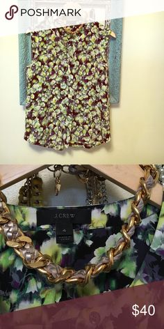 J crew green/purple blouse. Perfect condition Multi colored top from JCrew. Very trendy J. Crew Tops Blouses
