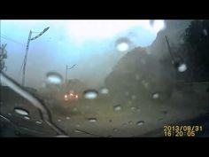 Giant Rock Hits and Almost Crushes Car - Extremely lucky car driver - YouTube
