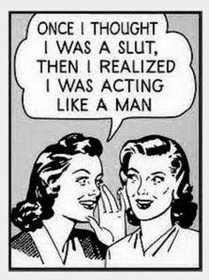 En esta imagen una mujer se caracteriza como puta. Pero luego recapasita y dice que nadamas estaba actuando como un hombre.
