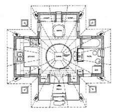 This is the best tiny floor plan I've ever seen! It would feel spacious with only the bathroom cut off from the rest of the living space.  Quietude cabin floor plan   Quietude: $29,000 Small Prefab Cabin that brings you Peace