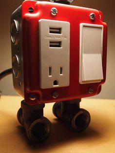 Industrial de rojo la lámpara carga USB estación