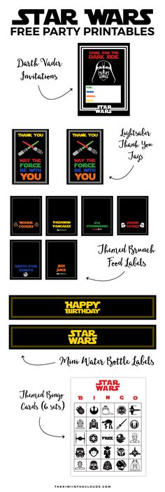 FREE Star Wars Party Printables   If you're throwing a Star Wars themed birthday party then you MUST check out this insane bundle of Star Wars FREE printables! This bundle includes an invitation, thank you card tags, food tent cards, mini water bottle labels, and even bingo cards!!! Yes, jackpot!