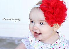 Baby Headbands - Newborn Headband - Large Red Flower Headband - Baby Girl Headband - Baby Bow Headband. $14.50, via Etsy.