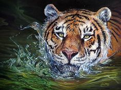 "Wildlife Art ""Hidden Sanctuary"": Realistic Oil Painting of a Tiger portrait By Dominique Wilkins Realistic Oil Painting, Tiger Painting, Big Cats Art, Cat Art, Pumas, Tiger Artwork, Dominique Wilkins, Photorealism, Wildlife Art"