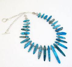 Spike Stone Necklace  Blue Turquoise Stones  by BijiJewelry