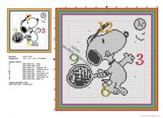 Children clock with Snoopy playing tennis free cross stitch pattern