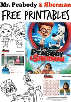 Mr. Peabody & Sherman Free Activity Sheets printables // #PeabodyInsiders