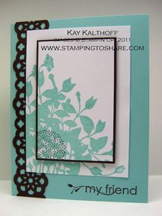 My Friend Make and Take by Speedystamper - Cards and Paper Crafts at Splitcoaststampers Friends Set, Cards For Friends, Friend Cards, Some Cards, Scrapbook Cards, Scrapbooking, Flower Cards, Homemade Cards, Stampin Up Cards