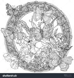 Luxurious Frame With Flowers And Butterflies. Zentangle Interpretation. Black And White. Vector Illustration. The Best For Your Design, Textiles, Posters, Coloring Book - 361104020 : Shutterstock