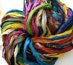 At the Bahamas: Multi Colored Recycled Sari Silk Ribbon Yarn by Darn Good Yarn | The Best Yarn Store!