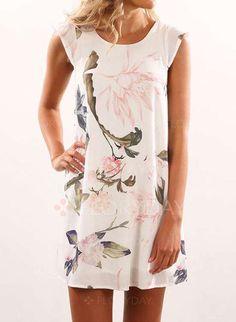 שמלות - $40.99 - שיפון פרחי ללא שרוולים מעל הברך לא פורמלי שמלות (1955126591)