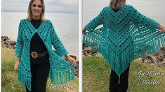 Casaco-Kimono em Crochê - Casaco Gipsy - Katia Missau - YouTube Gilet Crochet, Crochet Jacket, Crochet Shawl, Crochet Yarn, Crochet Cardigan Pattern, Crochet Blouse, Crochet Scarves, Crochet Clothes, Gilet Kimono