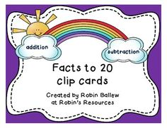These addition and subtraction clip cards help students gain automaticity of facts from 11 - 0 to 20 - 10 and 11 + 0 to 20 + 9. They can be made self checking by using a marker to indicate the correct answer on the back before the students use them. Clothespins or plastic coated paper clips can be used for this activity. Use the sets individually or together as a math center for pairs of students, or for students to practice on their own.