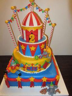 boy's circus birthday cake