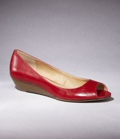 Love these cute red peep toe flats!