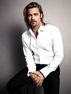 I love the cool grey background here.  Brad Pitt Chanel No5 Mario Sorrenti