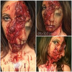 My new gore makeup. This look was totally inspired by the amazing horrific looks of @gregoryfx. I've been following his work for a very long time and you should too. The rest of the collab should be posted soon. This prosthetic and gooey stuff is gelatin. All painted with my @sigmabeauty Fx brushes using @ppipremiereproducts Skin Illustrator and finished off with this amazing blood from @motionpicturefx. I plan on doing a series of mangled face looks really soon.