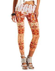 bright tribal woven legging