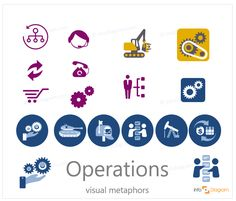 Operations and OPEX symbols - abstract business concept visualization by PowerPoint icons: turnover, phone, daily expenses, personnel, gears, retail, military operations, financial, machinery. Flat editable infographics images.