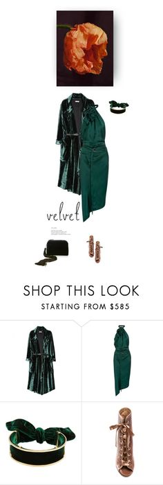 """""""Lush"""" by iriadna ❤ liked on Polyvore featuring Nina Ricci, Yves Saint Laurent, Gianvito Rossi, The Row, GREEN, NightOut, velvet, laceup and trenchcoat"""