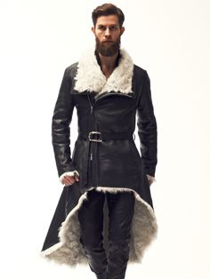 Man in Leather Fur Coat