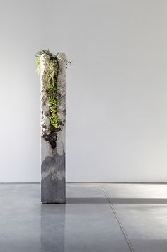 Column Codex I 2014 cement, marble waste, limestone, steel slag, coal ash, plastic fibre, tree fern slab, various Australian native plants and Spanish moss 165.0 x 26.0 x 26.0 cm