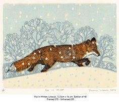 Vanessa Lubach ~ Fox in Winter ~ Linocut, 12.5 x 16 cm