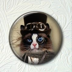 Pocket Mirror Steampunk Kitty