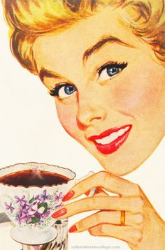 Imgs For > Retro Woman Illustration Images Vintage, Retro Images, Vintage Pictures, Vintage Ads, Vintage Prints, Vintage Woman, Art Pop, Vintage Housewife, Coffee Illustration