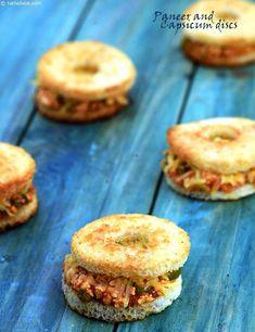Paneer and Capsicum Discs recipe, Sandwich Recipes Sandwich Recipes, Snack Recipes, Cooking Recipes, Vegetarian Recipes, Breakfast Recipes, Sandwiches, Comida India, Party Finger Foods, Fusion Food