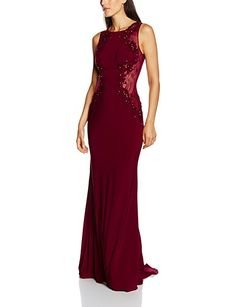 5d6d8ad71db36 Mascara Damen Kleid Lace Back Gown  Amazon.de  Bekleidung