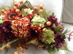 Thanksgivng / Fall / Autumn Floral Arch ( Swag) for Over Door, Window or Mantel. Faux Hydrangea, Sunflowers, Protea, Eucalyptus, Gourds,