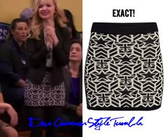 "Dove (as Liv) wore this printed skirt in ""Shoe-A-Rooney"" H&M Knitted Skirt in White Sold Out"