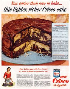 Dying for Chocolate: Crisco Chocolate Marble Cake: Retro Ad & Recipe(Marble Cake Recipes) Retro Recipes, Vintage Recipes, Chocolate Marble Cake, Chocolate Cakes, Chocolate Frosting, Vintage Baking, How Sweet Eats, Cakes And More, Let Them Eat Cake
