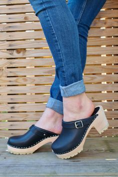 Lotta's New High Clog with Tractor Sole and Moveable Strap.