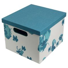 """11"""" Teal floral ext & solid int Lidded Milk Crate (Non Woven)"""