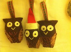These owls have a cotton loop and can be hung as a holiday ornament on a Christmas tree or rear-view mirror.
