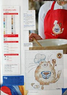 Culinary Cats (Margaret Sherry) From Cross Stitcher February 2010 4 of 7 Cross Stitch Kitchen, Cross Stitch Love, Cross Stitch Animals, Cross Stitch Kits, Cross Stitch Charts, Cross Stitch Designs, Cross Stitch Patterns, Cross Stitching, Cross Stitch Embroidery