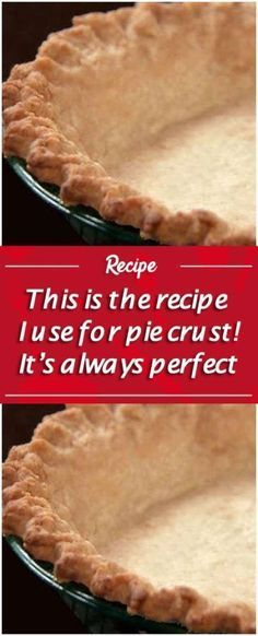 Pie crust Serves: Makes 2 pie crusts Ingredients: 2 cups all-purpose flour, sifted 1 teaspoon salt cup butter or cup shortening (we used Crisco) 5 tablespoons cold water Directions: Put flour into a mixing bowl with the Homemade Pie Crusts, Pie Crust Recipes, Pastry Recipes, Baking Recipes, Crisco Pie Crust Recipe, Quick Pie Crust Recipe, Pie Pastry Recipe, Bisquick Pie Crust, 3 Ingredient Pie Crust Recipe