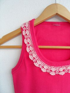 Womens Top Crocheted Lace Shirt Collar Cotton Yarn Top, Blouse, Tunic, Gift For Her, Fuchsia And Soft Powder Pink. $26.00, via Etsy.