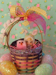 Colorful Vintage Easter Basket with Sweet  Vintage Lefton Bunny Pixie Girl Figurine...ooak