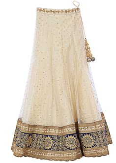 Off-white lehenga embellished in thread embroidery and kundan only on Kalki
