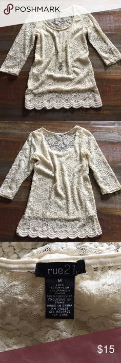 Rue21 Lace Top New without tag! See 3rd picture for material info. The back is see thru. Rue21 Tops Blouses