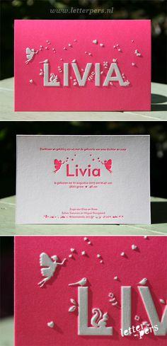 letterpers_letterpress_geboortekaartje_Livia_Roze_fluor_neon_preeg_engeltje