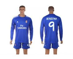 Maillot Real Madrid Benzema 9 Extérieur Manches Longues 2013-2014 45ad209978673