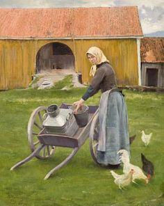 Paul Gustave Fischer Jente med melkespann, Norge 1889 (Woman with milkpan, Norway Illustrations, Illustration Art, Farm Paintings, The Barnyard, Esoteric Art, Special Images, Chicken Art, Beach Scenes, Beautiful Paintings